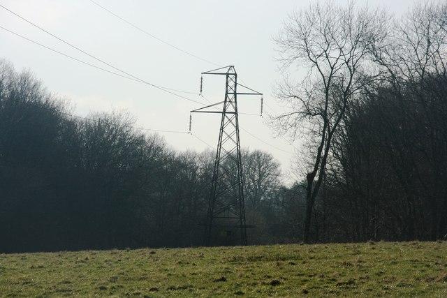 Pylon on the northern shore of Weirwood Reservoir