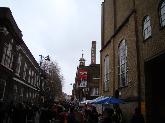 View of the Old Truman Brewery chimney from Brick Lane