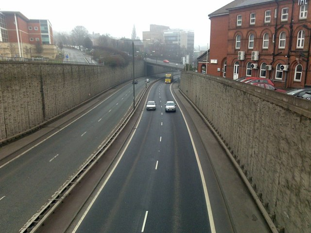 The A61 in Chesterfield