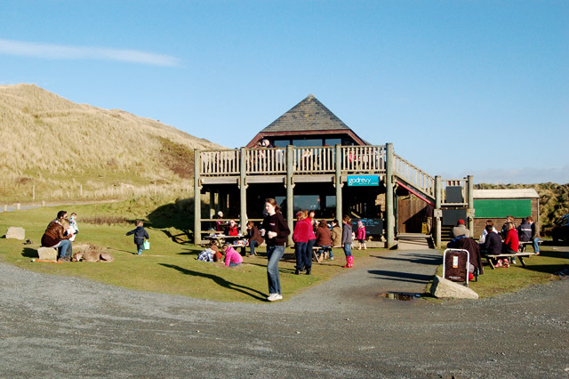 Godrevy beach cafe on a warm February afternoon