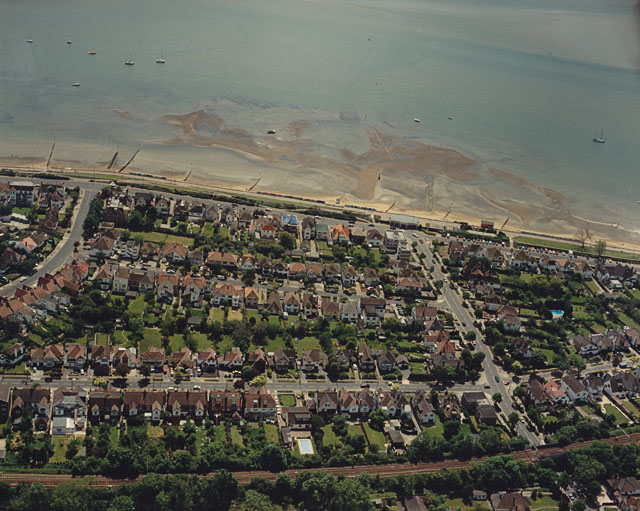 Aerial view of Southend seafront: Crow Stone and Hard