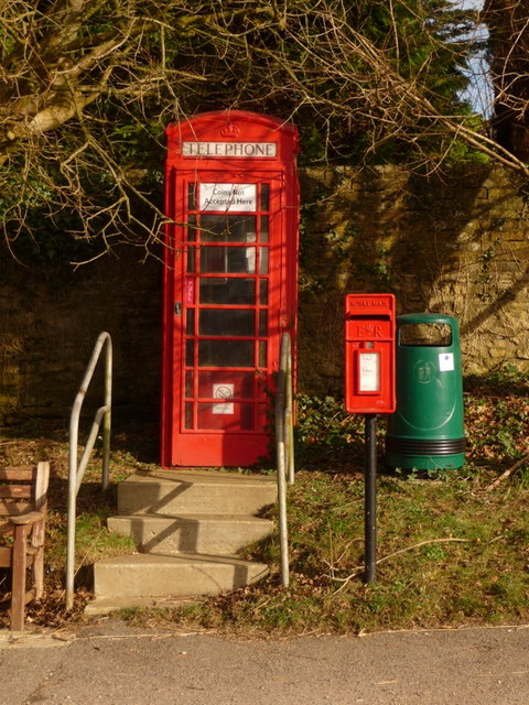 West Knighton: postbox № DT2 23 and phone