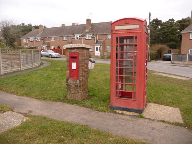 Bovington: postbox № BH20 209 and phone, Cologne Road