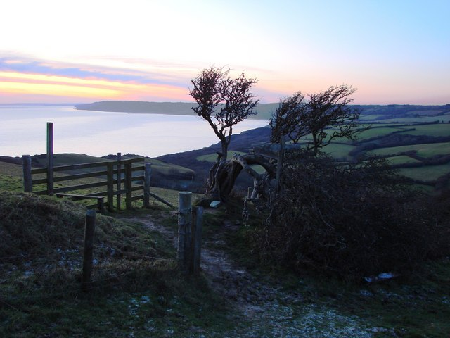 Sunset at the Jurassic Coast, view from Golden Cap