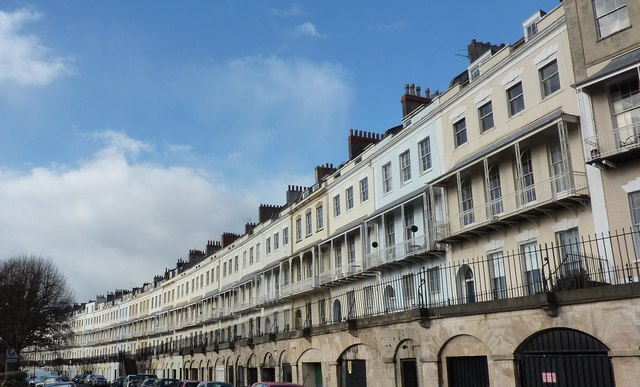 A view of Clifton Crescent curling into the background