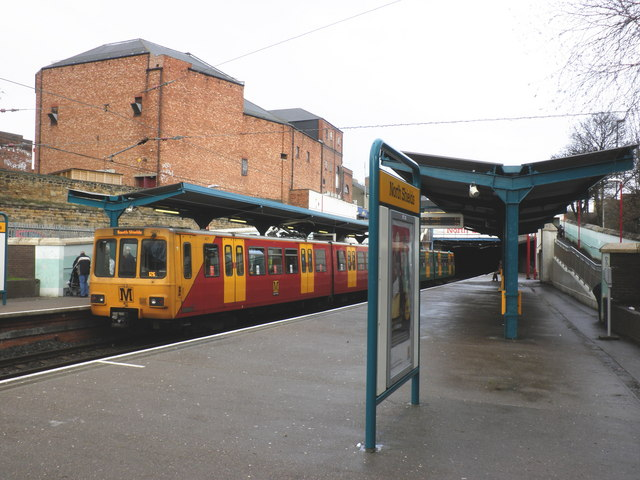 Coast train arrives at North Shields Metro Station