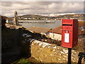 SZ0378 : Swanage: postbox and bay view by Chris Downer