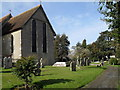 SU9006 : Man and a dog at St Andrew, Tangmere by Basher Eyre