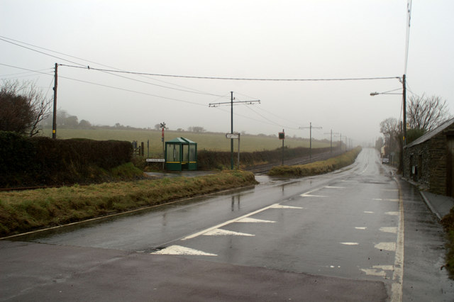 Tram stop on the A2 north of Baldrine
