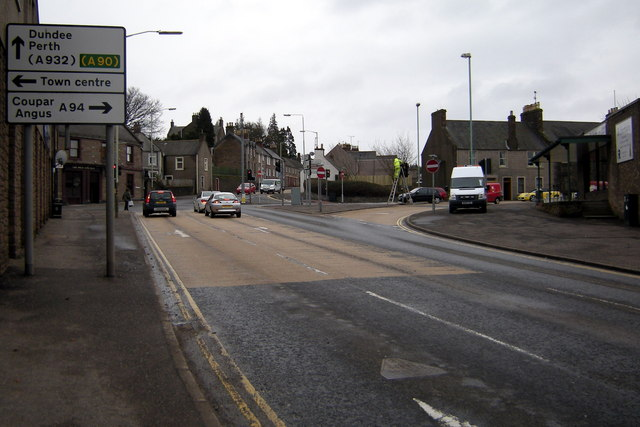 Craig O' Loch Road, Forfar approaching its junction with West High Street, Glamis Road and Dundee Loan
