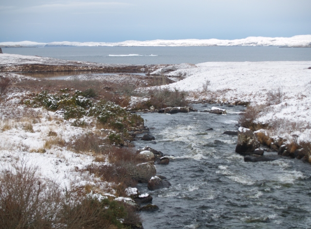 River flowing into Garvie Bay, winter