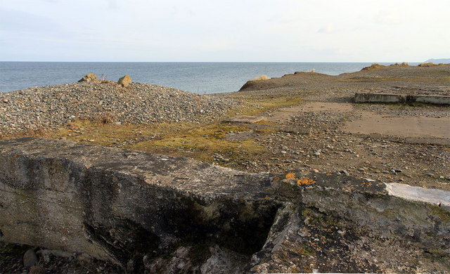 Remnants of buildings near the Point of Ayre