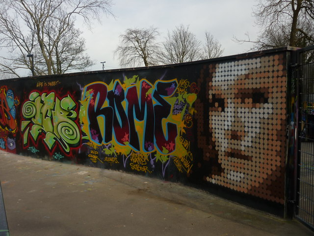 Graffiti wall, Alexandra Park skatepark, North London