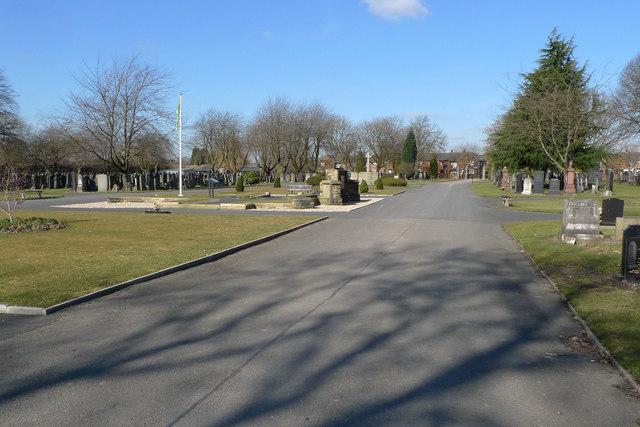 Main driveway in Gorton Cemetery