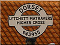 SY9495 : Lytchett Matravers: detail of Higher Cross finger-post by Chris Downer