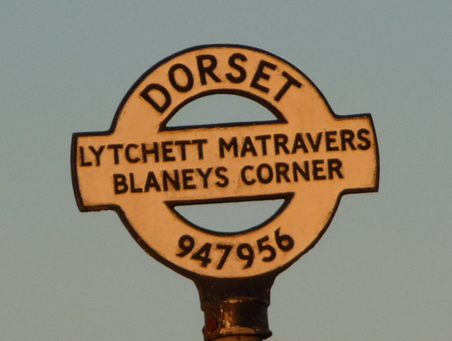 Lytchett Matravers: detail of Blaneys Corner finger-post