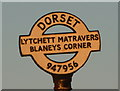 SY9495 : Lytchett Matravers: detail of Blaney's Corner finger-post by Chris Downer