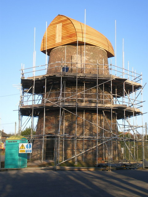 Restoration work underway on the Meir Heath windmill