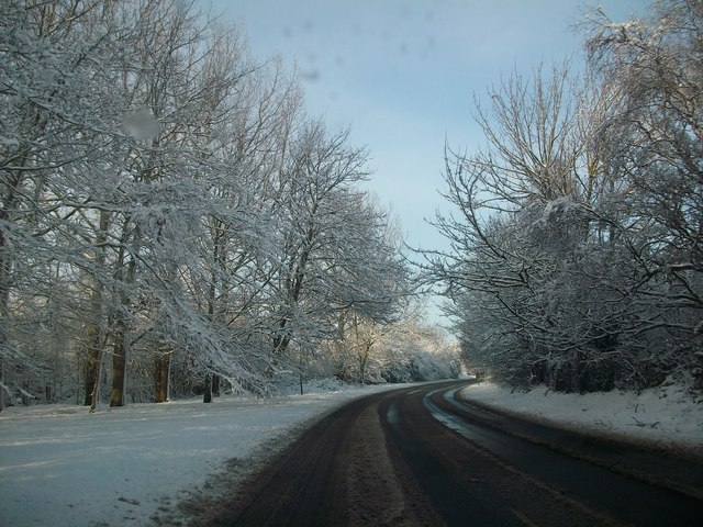 Snow scene on Fakenham road Beetley just past School road junction