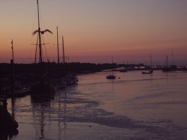 Wells harbour looking out towards channel at sunset