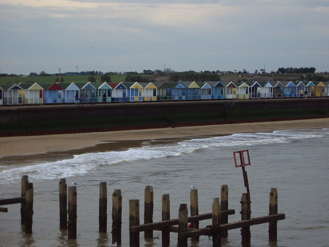 Beach huts from Southwold Pier
