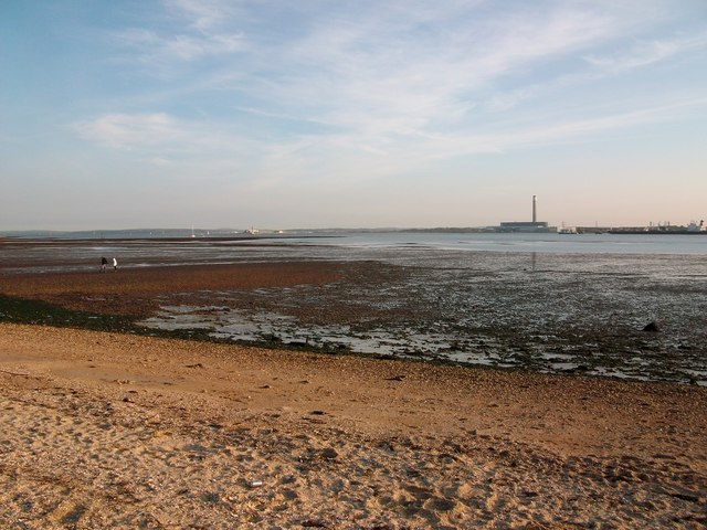 On Hamble Common looking across to Fawley Power station