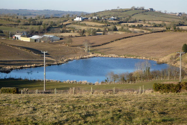 Small Lake surrounded by farmland