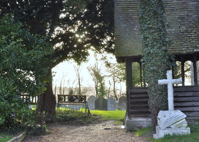 Church entrance and churchyard, White Roding