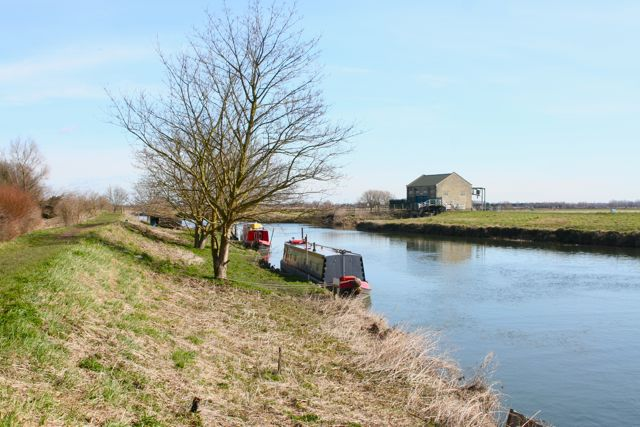 Boats on the Cam by the Fen Rivers Way at Waterbeach