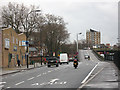 Dist:0.1km&lt;br/&gt;Looking east along the New Kent Road (eastbound carriageway) to the flyover onto the Old Kent Road.  See also [[1766302]].