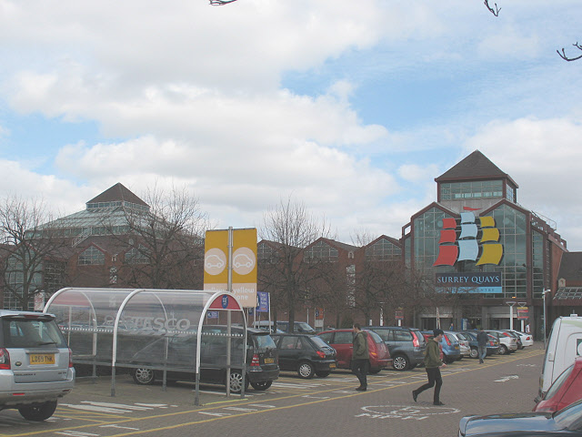 Car park of Surrey Quays shopping centre
