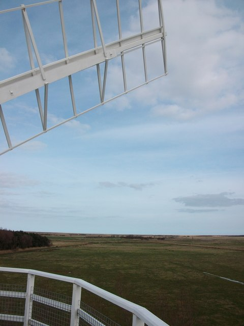 View of  coastline across the marshes from the top of Horsey Mill