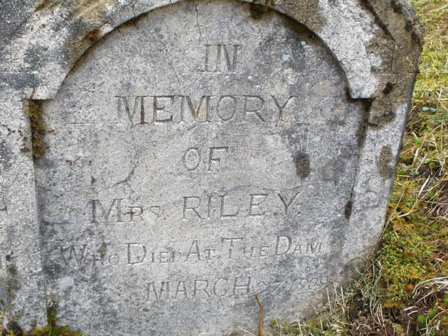 Gravestone to Mrs Riley Blackwater Reservoir