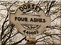 ST4400 : Stoke Abbott: Four Ashes finger-post detail by Chris Downer