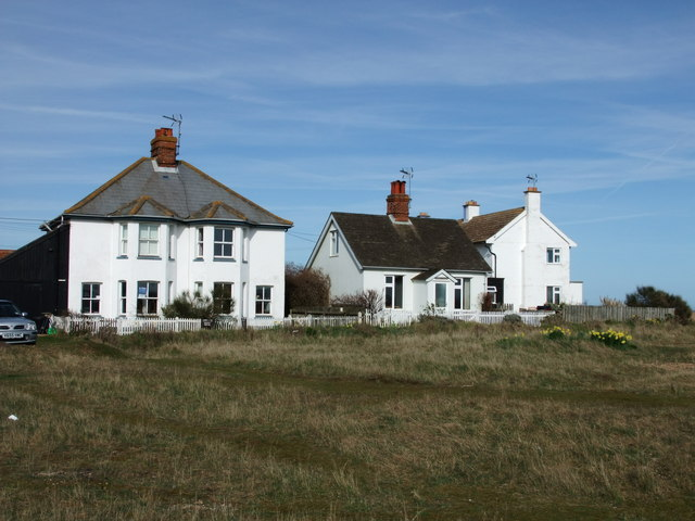 Houses near beach in Shingle Street