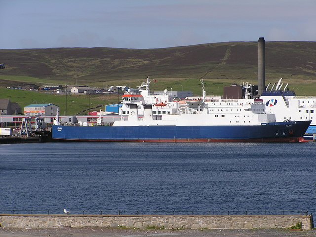 Cargo vessel Clare at Holmsgarth ferry terminal