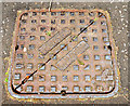 J3673 : Ulster Foundries manhole cover, Belfast (1) by Albert Bridge