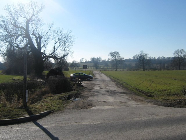 Kedleston Road and private road to Lower Vicarwood Farms, Quarndon, Derbyshire
