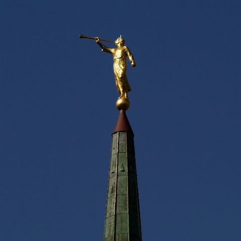 Huge Gilded Sculpture atop the Church of the Latter Day Saints at Newchapel