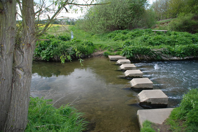Ford, Stepping Stones & Weir on the River Witham