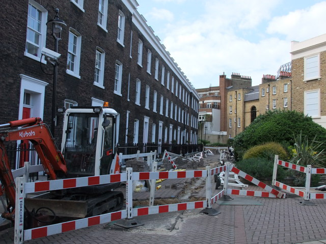 Roadworks in Bessborough Place, Pimlico