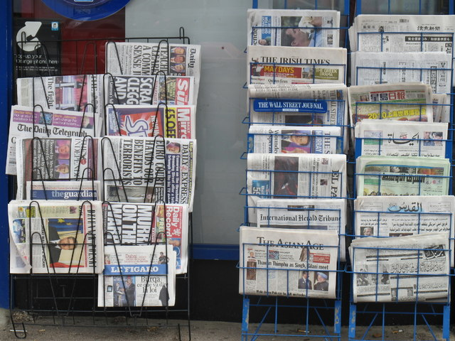 International newspapers at a suburban newsagent's shop