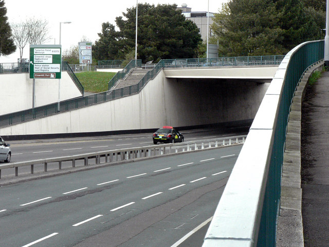 The A386 (Tavistock Road) passing beneath the B3413 at Crownhill
