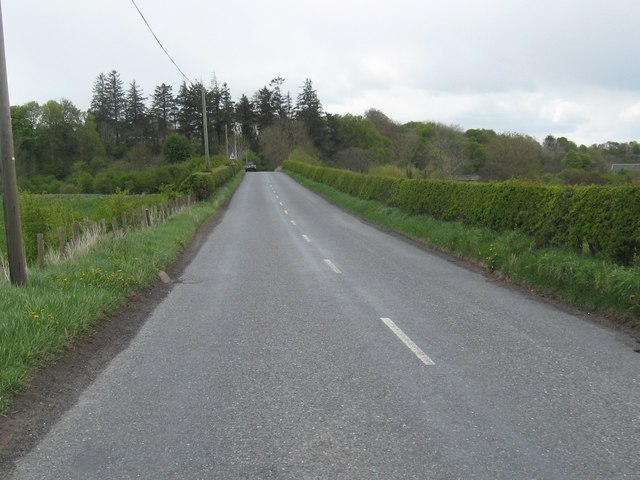 The B6347 heading towards Allanton