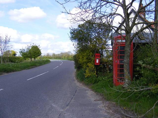B1116 Laxfield Road & Bell Corner Postbox