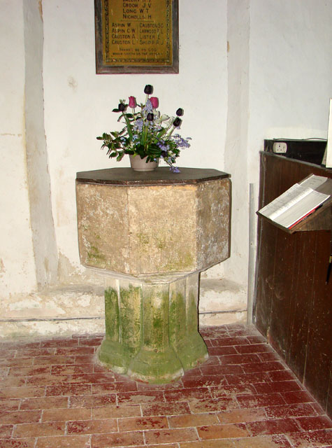 St Mary's church in Cranwich - medieval font