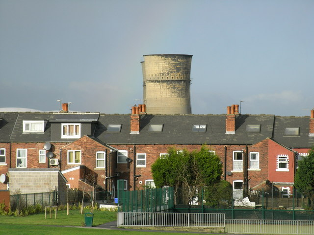 Cooling Towers with rainbow at Tinsley