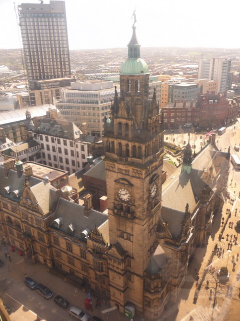 Sheffield: the Town Hall from above