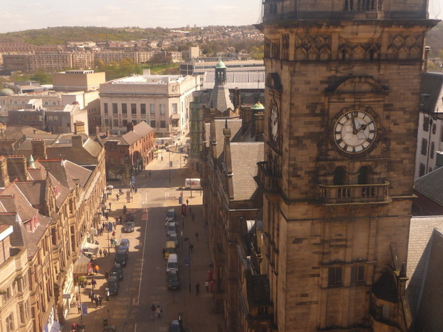 Sheffield: the Town Hall clock and Surrey Street