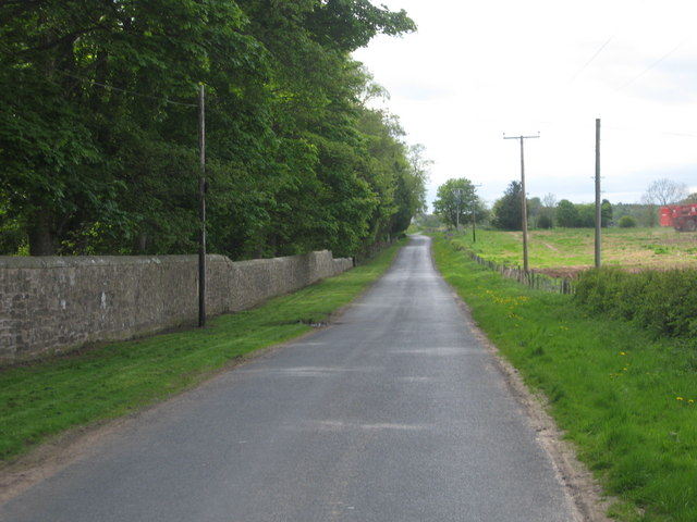 Country road passing Tofthill in Berwickshire